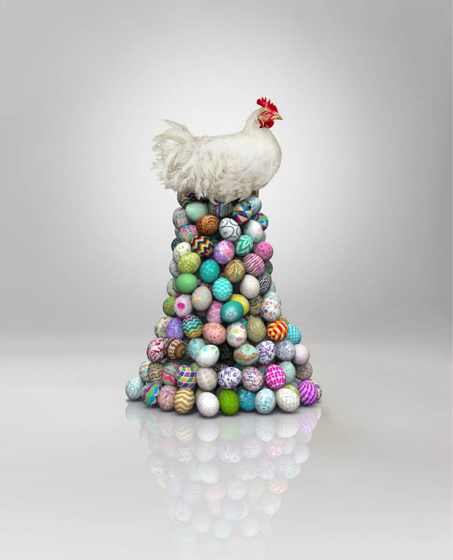 Chicken sitting on Easter eggs